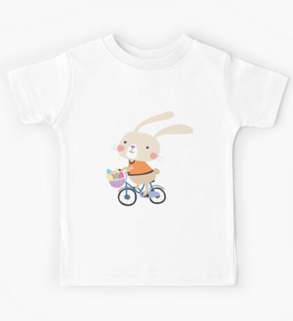 Holidays Easter Bunny on Bicycle With Eggs Kids Tee