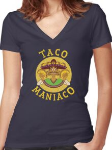 TACO MANIACO Women's Fitted V-Neck T-Shirt