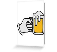 drinking beer booze handle hand Greeting Card