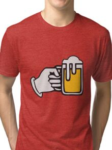 drinking beer booze handle hand Tri-blend T-Shirt