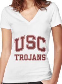 University of Southern California Trojans Women's Fitted V-Neck T-Shirt