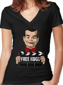 slappy free hugs Women's Fitted V-Neck T-Shirt