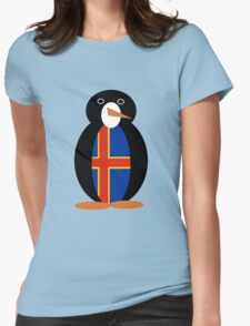 Aaland Islands Penguin Flag Womens Fitted T-Shirt