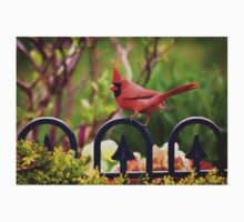 Male Red Cardinal in the Garden Kids Tee