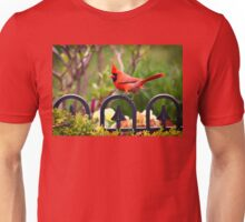 Male Red Cardinal in the Garden Unisex T-Shirt
