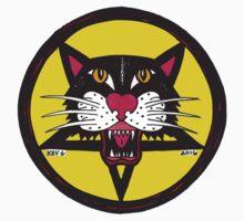 Yellow Big Black Demon Cat Kids Tee