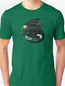 Black Dragon Guarding Sleeping Cats Unisex T-Shirt