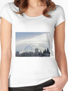 Mt. Rainier over Tacoma Women's Fitted Scoop T-Shirt