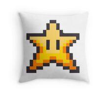 Mario Bros Star Estrella 8-Bits Throw Pillow