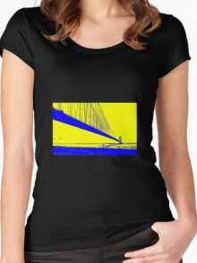 Landscape yellow blue Women's Fitted Scoop T-Shirt