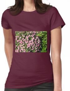 Beautiful spring bush with pink flowers. Womens Fitted T-Shirt