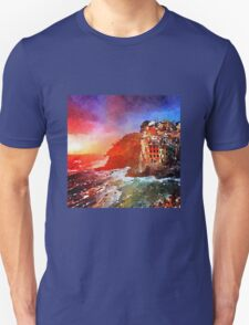Beautiful water color painting,village by the sea,trendy,modern,fine art, T-Shirt