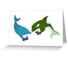 Blue Dolphin and Orca Greeting Card