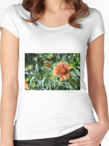 Orange flower and green leaves background. Women's Fitted Scoop T-Shirt