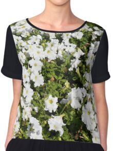 Beautiful pattern with white flowers in the garden. Chiffon Top