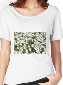 Beautiful pattern with white flowers in the garden. Women's Relaxed Fit T-Shirt