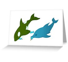 Green Orca and Dolphin Greeting Card