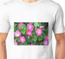 Purple flowers, natural background. Unisex T-Shirt