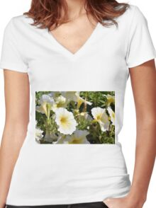 Beautiful pattern with white flowers in the garden. Women's Fitted V-Neck T-Shirt