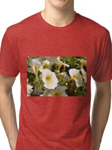 Beautiful pattern with white flowers in the garden. Tri-blend T-Shirt