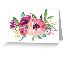 Watercolor Wild Flower Pink Bouquet Greeting Card