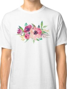 Watercolor Wild Flower Pink Bouquet Classic T-Shirt