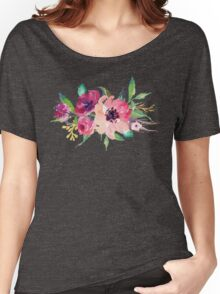 Watercolor Wild Flower Pink Bouquet Women's Relaxed Fit T-Shirt