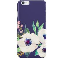 White Pink Anemone Watercolor Flower Bouquet iPhone Case/Skin