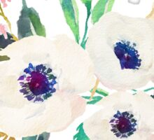 White Pink Anemone Watercolor Flower Bouquet Sticker