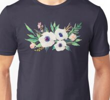 White Pink Anemone Watercolor Flower Bouquet Unisex T-Shirt