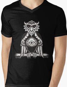 3RD EYE OWL white Mens V-Neck T-Shirt