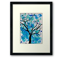 Blue Abstract Tree Drawing  Framed Print
