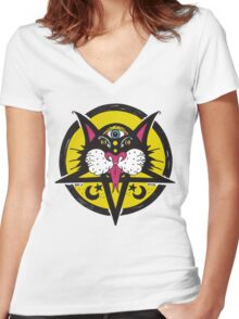 Black Moon Cat Women's Fitted V-Neck T-Shirt