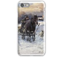 Alfred Wierusz-Kowalski , Painting, A horse-drawn sleigh ride iPhone Case/Skin