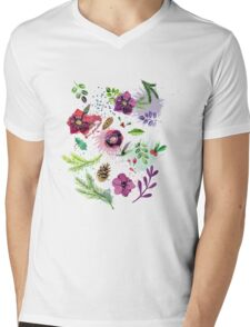 Floral Mens V-Neck T-Shirt