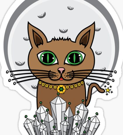 Cosmic Moon Cat - Green Sticker