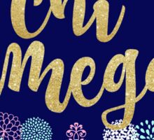Chi Omega Glitter Floral Sticker