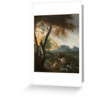 Landscape with Goats about  Adam Pijnacker (Dutch, ) Greeting Card
