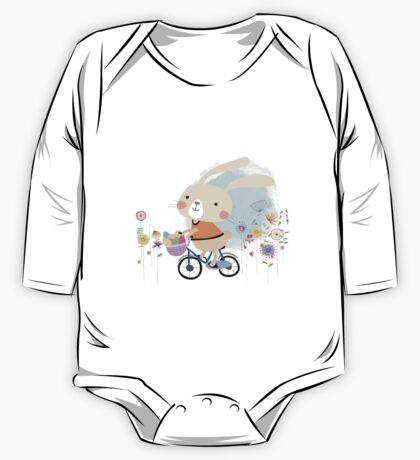 Cute Bunny on Bicycle Easter Eggs Flowers One Piece - Long Sleeve