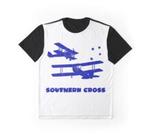 Southern Cross  Australian Aviation Lino Print in Blue with Text Graphic T-Shirt