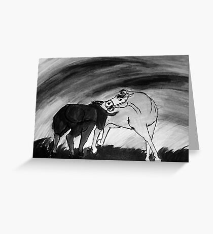 Horse and bull Greeting Card