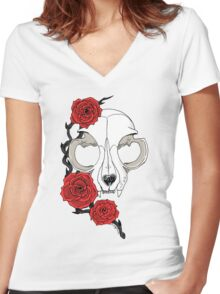 Cat skull and roses: Colored Women's Fitted V-Neck T-Shirt