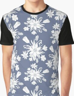 Monochrome pattern with spring flowers. Graphic T-Shirt