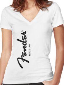 FENDER GUITARS Women's Fitted V-Neck T-Shirt