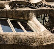 Freeform Rhythms in Stone, Iron and Glass - Antoni Gaudi's La Pedrera or Casa Mila in Barcelona, Spain Sticker
