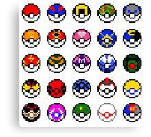 Pixel Pokéballs Canvas Print