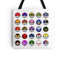 Pixel Pokéballs Tote Bag