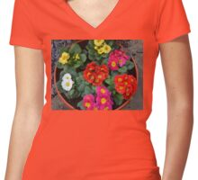 Multi Colored Polyanthus Women's Fitted V-Neck T-Shirt