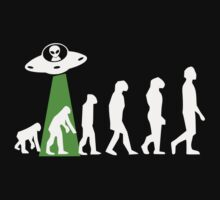 Human Evolution Manipulated By Space Aliens Kids Tee