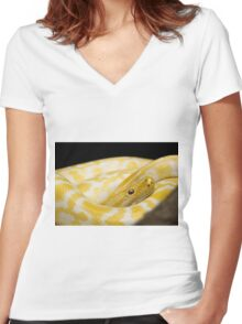 Yellow Snake Women's Fitted V-Neck T-Shirt